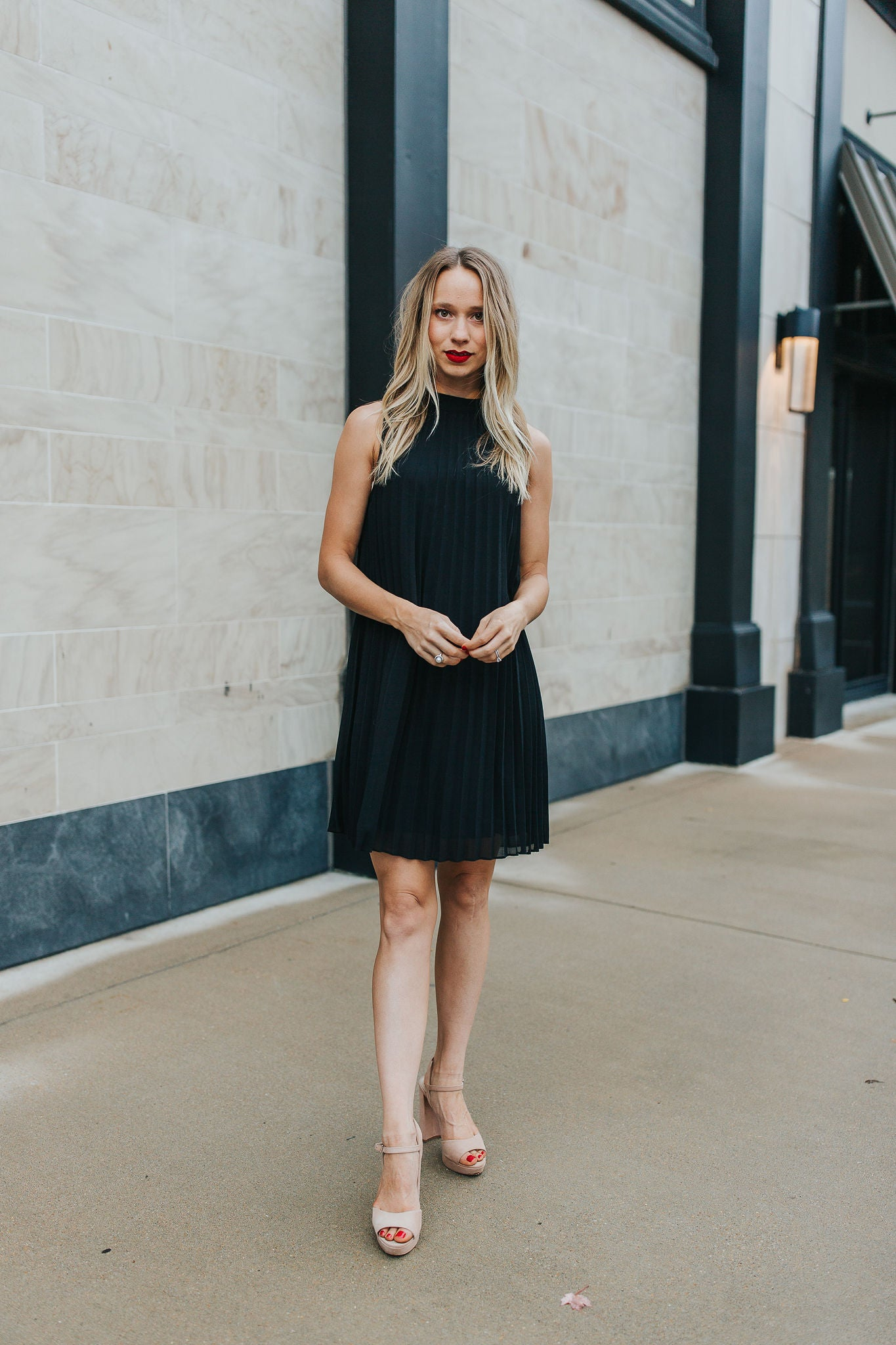 First Crush Pleated Dress - Black