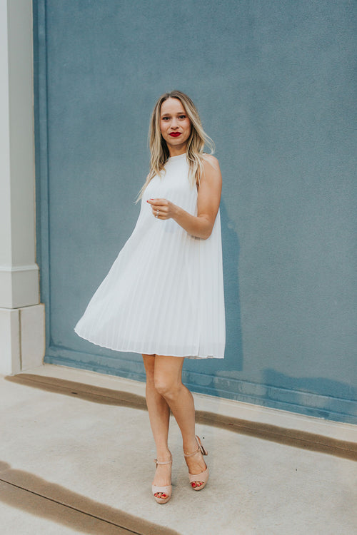 First Crush Pleated Dress - White