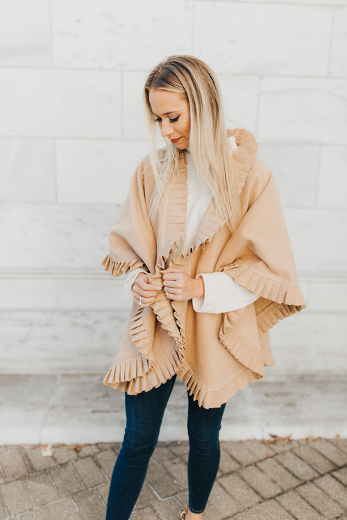 Camel Pleated Cape