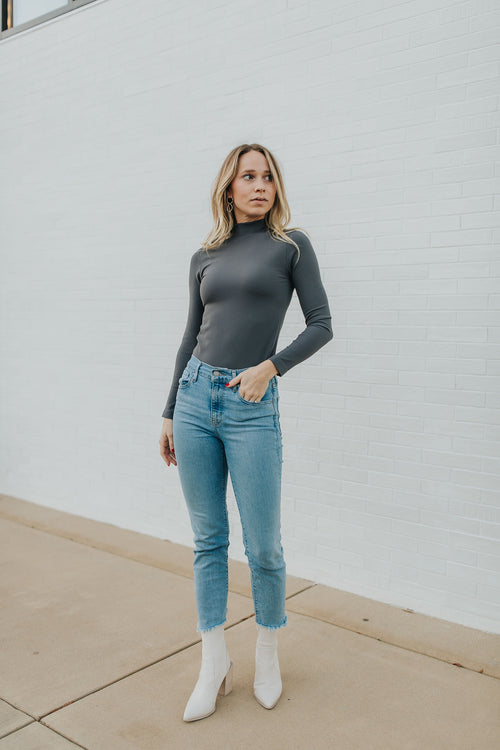 Hannah Long Sleeve Turtleneck - Charcoal