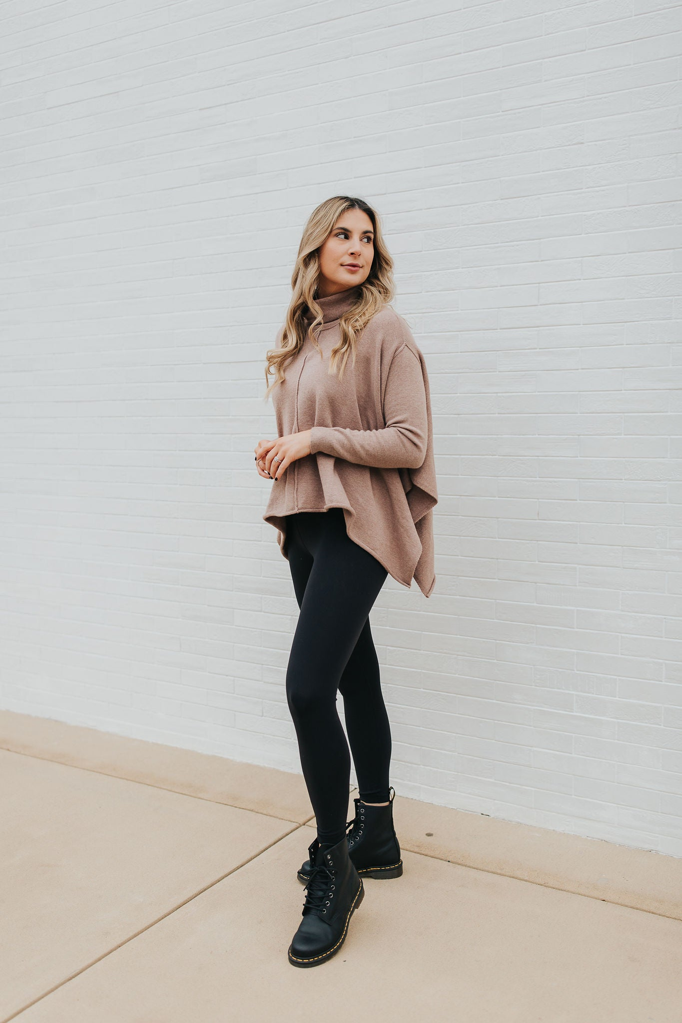 Benton Turtleneck Poncho - Brown