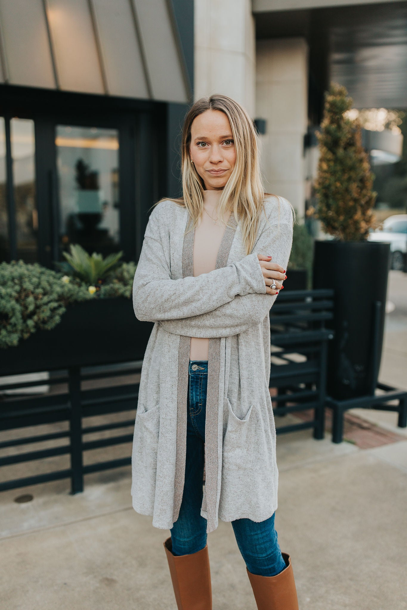 Marie Soft Brushed Cardigan - Taupe