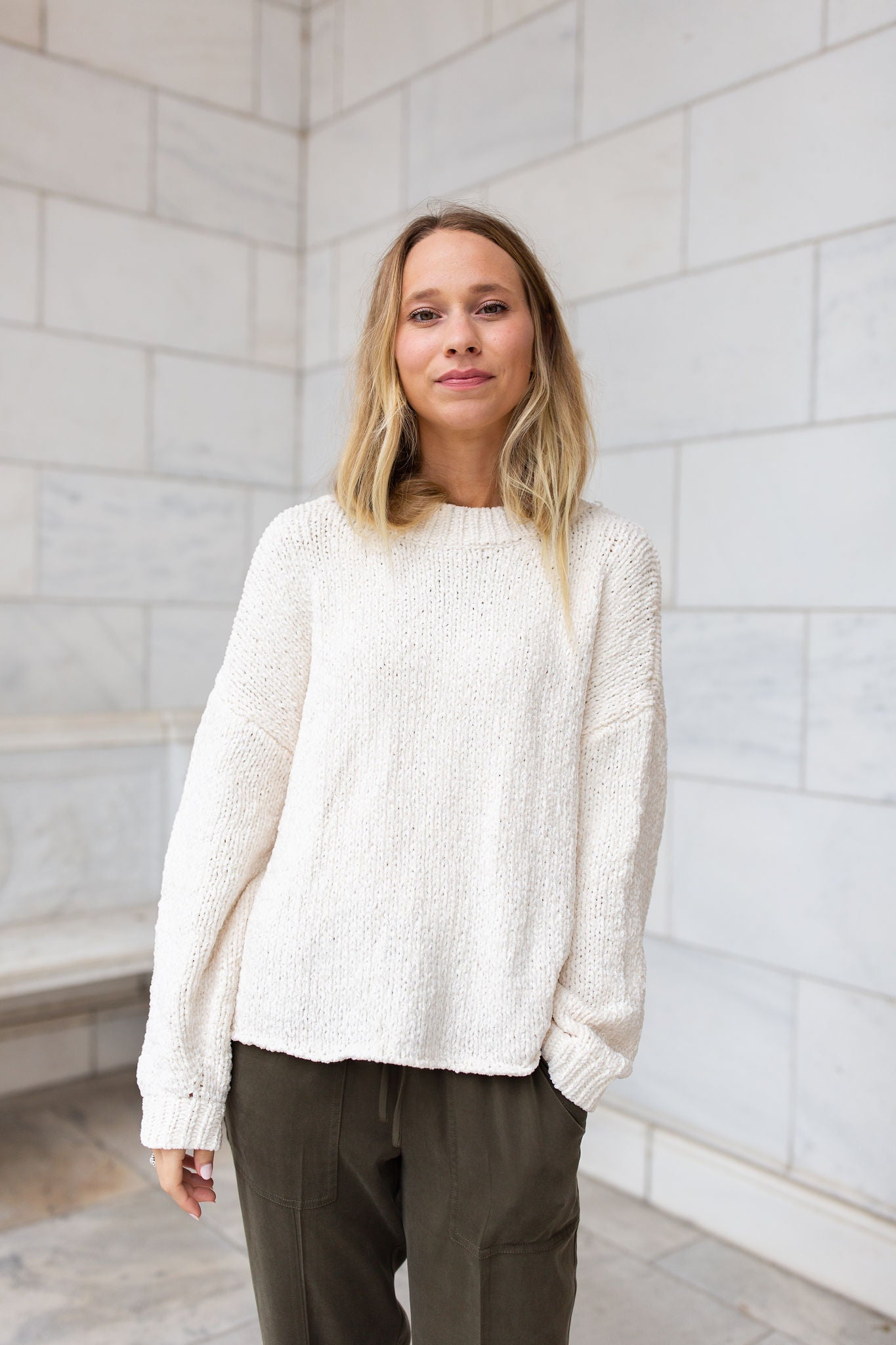 Embry Cropped Chenille Sweater - Cream