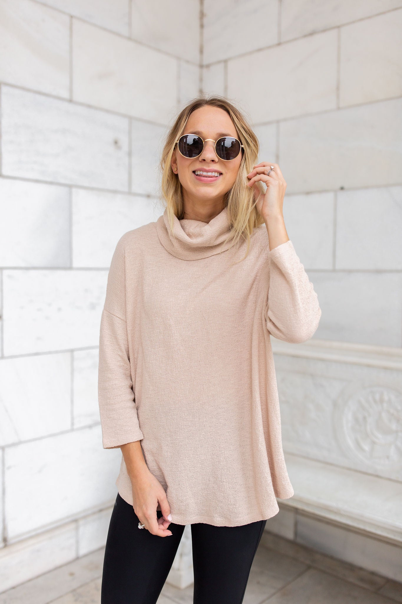 Tinley Cowl Neck Top - Taupe