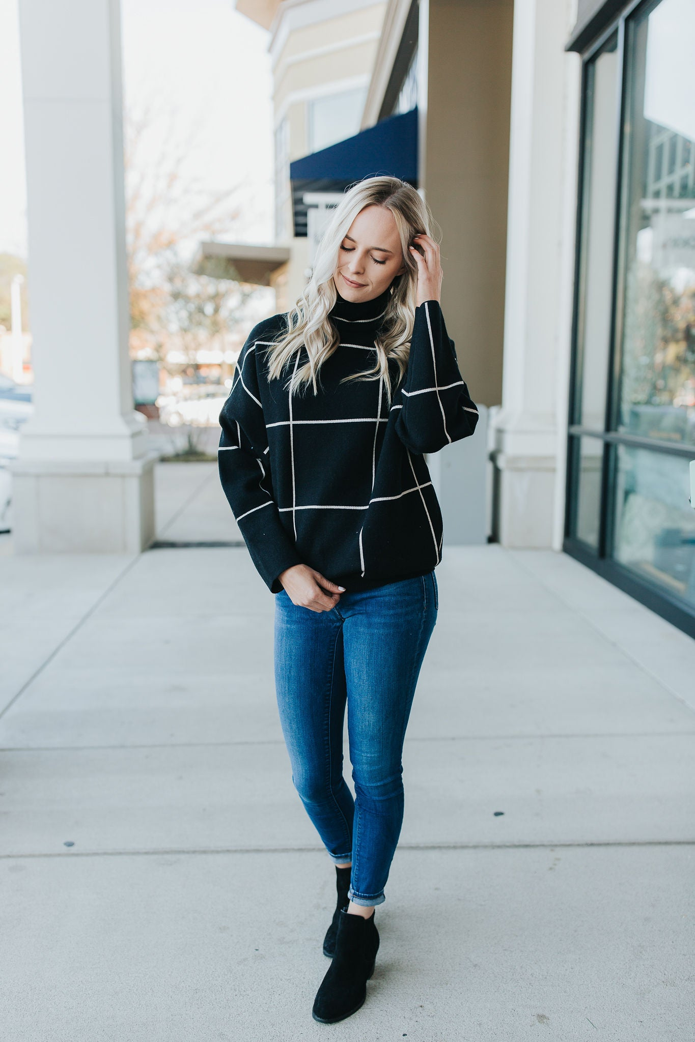 Gabby Grid Sweater - Black