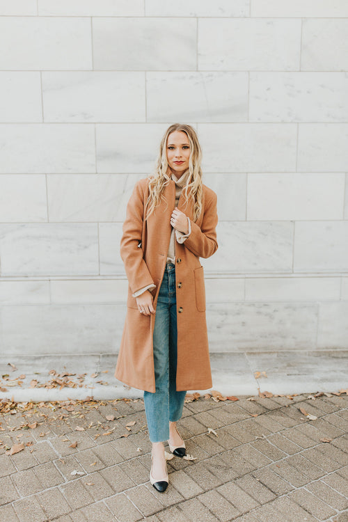 Kelly Long Line Coat - Camel