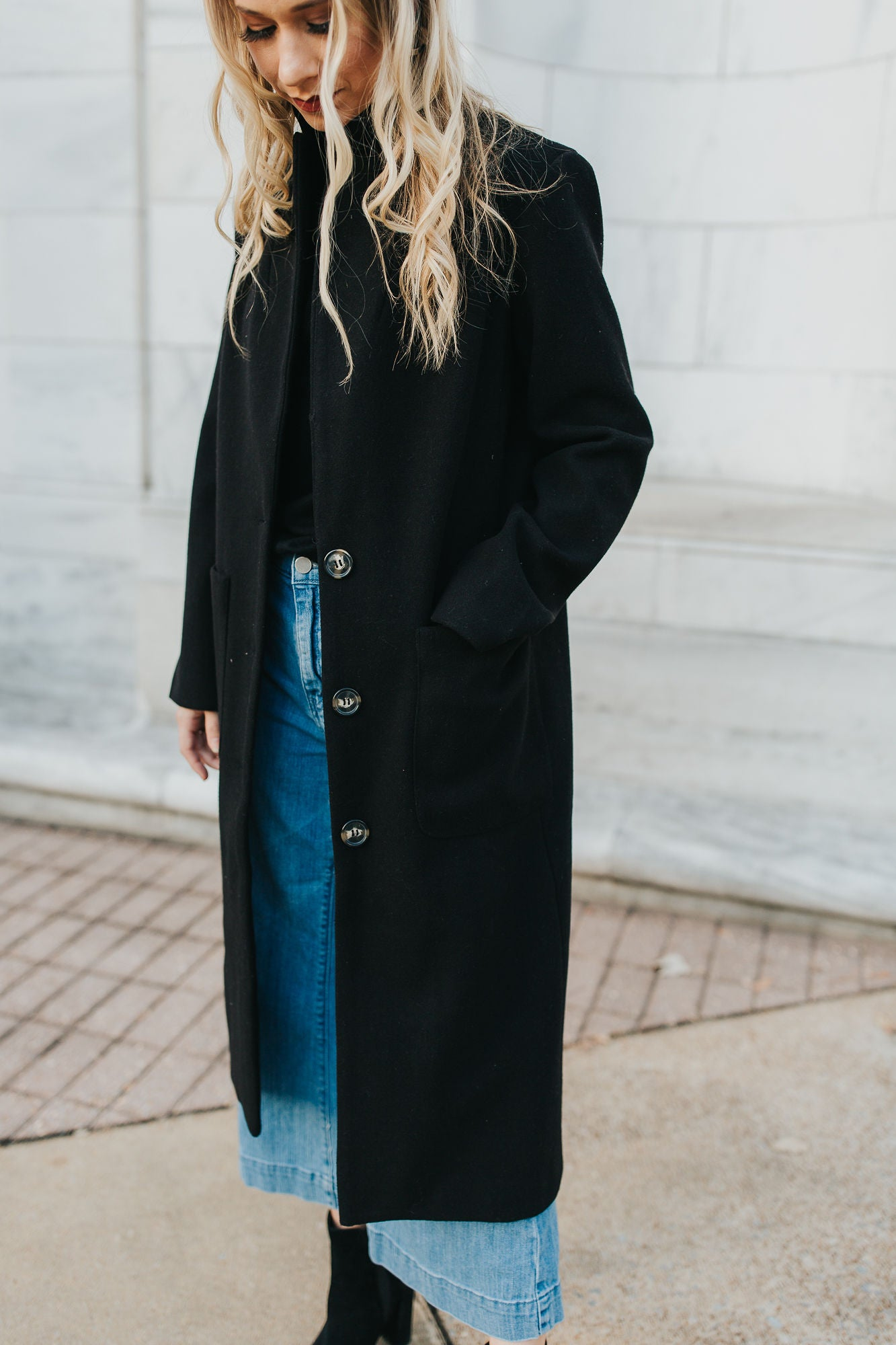 Kelly Long Line Coat - Black