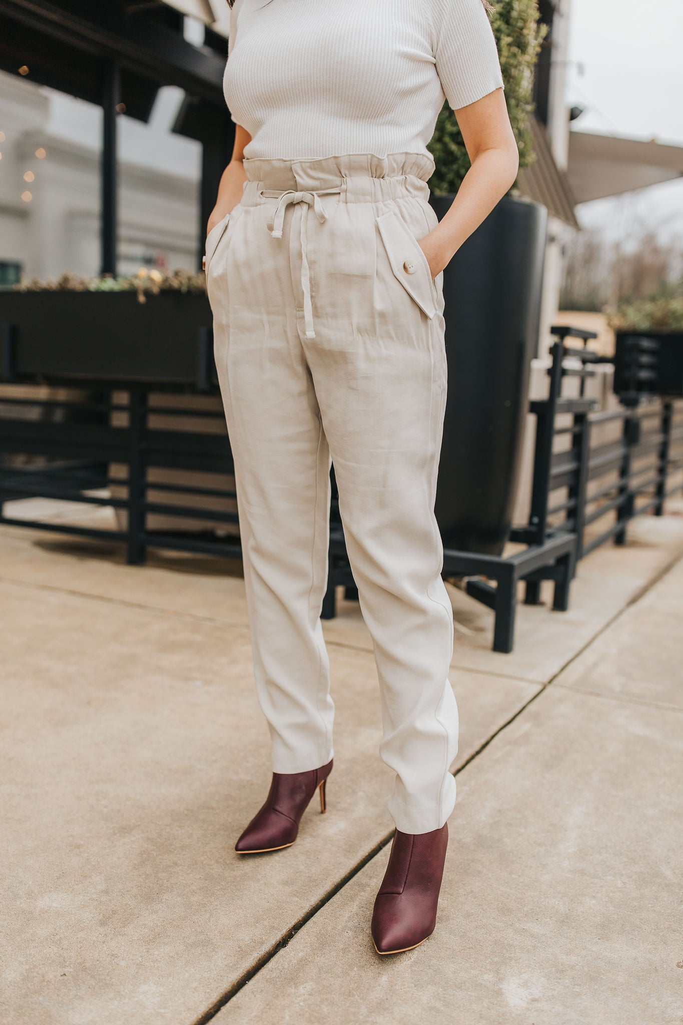 Piper Paperbag Pants- Taupe