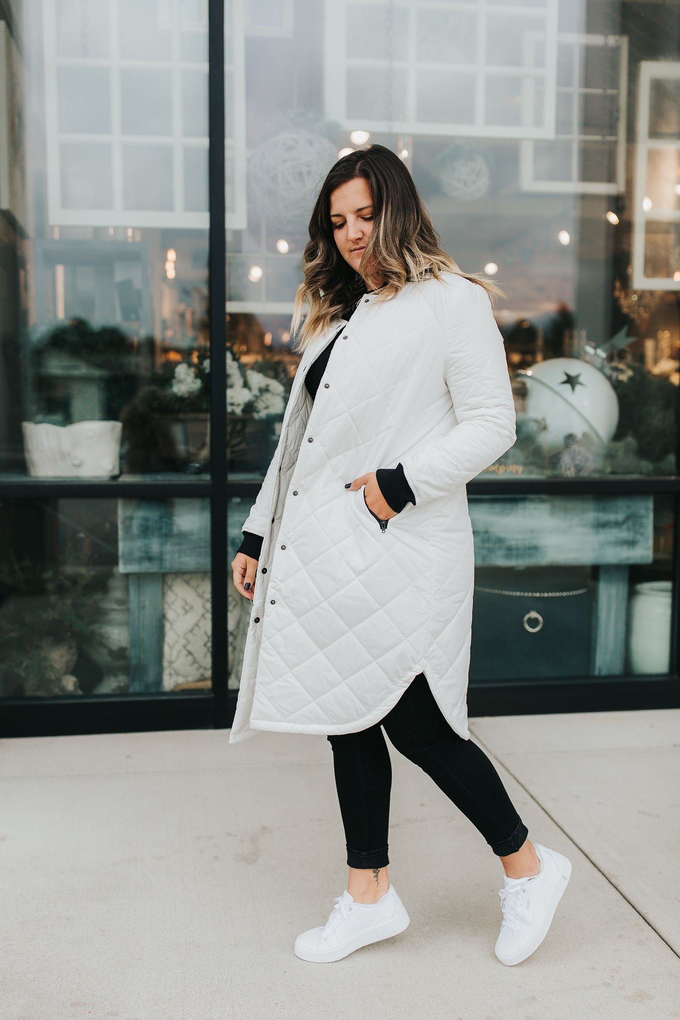 Carmen Quilted Coat - White