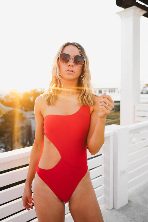 Becky One Shoulder Swimsuit - Red