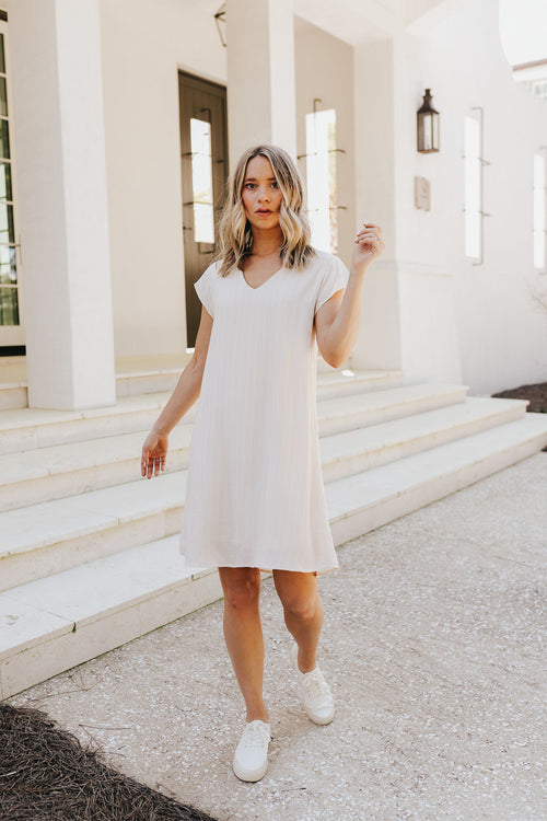 Nude Stripe Mini Dress