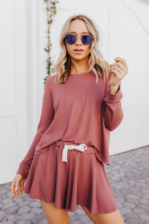 On My Mind Waffle Knit Set - Mauve