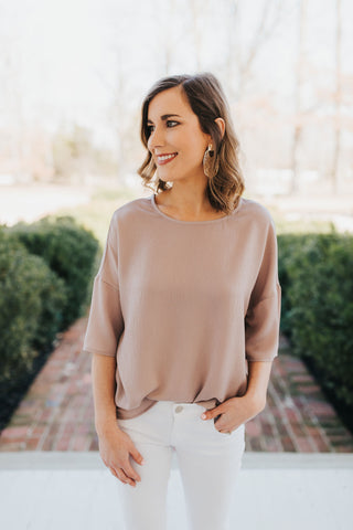 Taupe V-Neck Collared Top