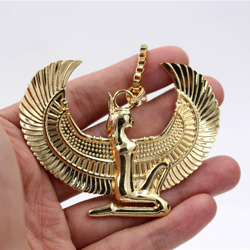 Large Egyptian Goddess Gold Pendant