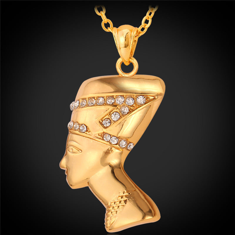 Gold nefertiti necklace pendant egyptian queen jewelry jewelry silver nefertiti necklace pendant gold nefertiti necklace pendant mozeypictures Choice Image