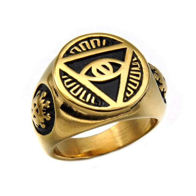Stainless Steel Pyramid Ring - Gold