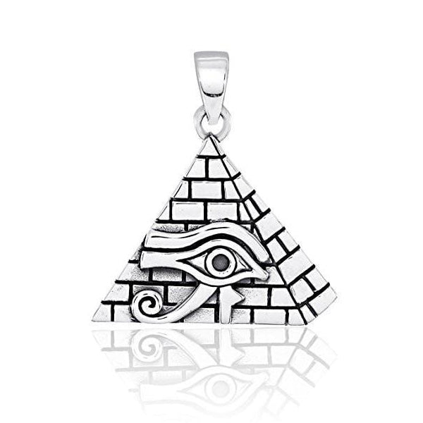 Sterling Silver Eye of Horus in Pyramid Pendant