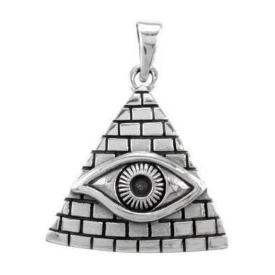 Sterling Silver Pyramid and Eye of Horus Pendant