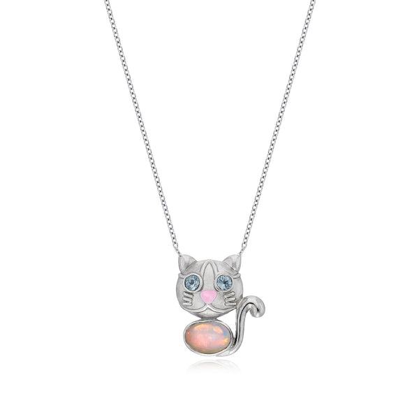Jackson White Kitty Pendant