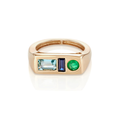 Modernist Birthstone Signet Ring - March | Aquamarine