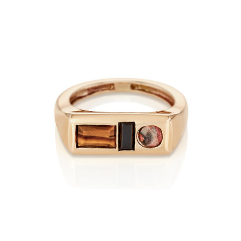 Modernist Birthstone Signet Ring - January | Garnet