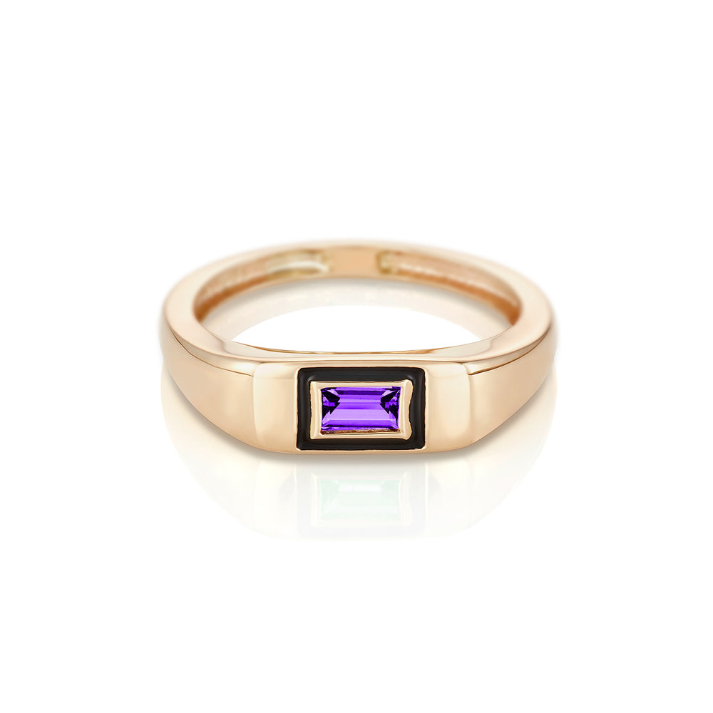 Modernist Birthstone Signet Ring - February | Amethyst
