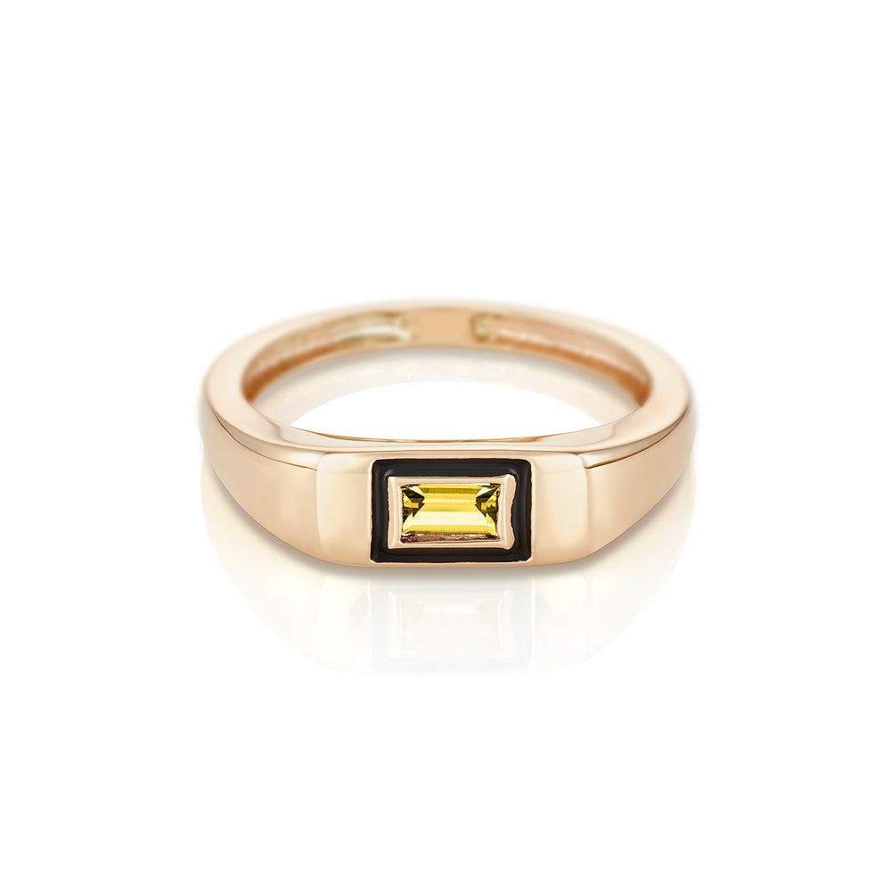 Modernist Birthstone Signet Ring - November | Citrine