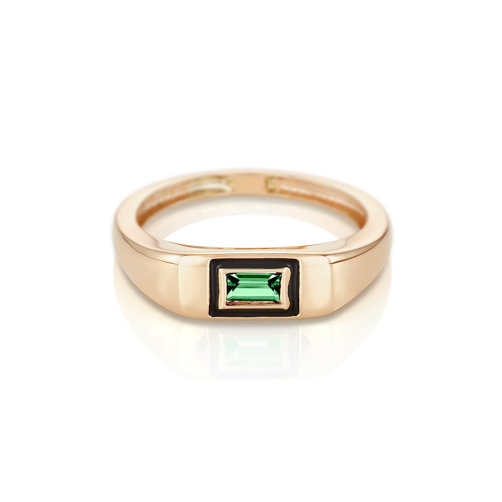 Modernist Birthstone Signet Ring - May | Emerald
