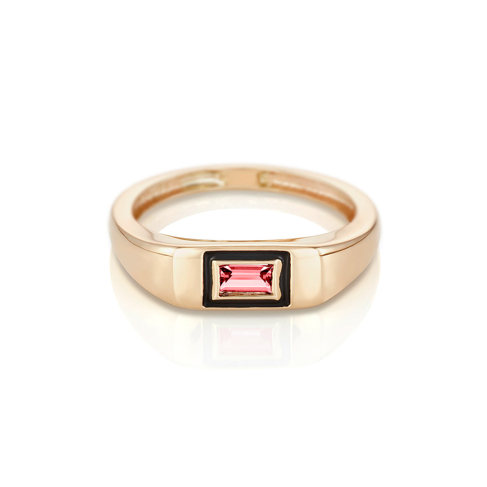 Modernist Birthstone Signet Ring - July | Ruby