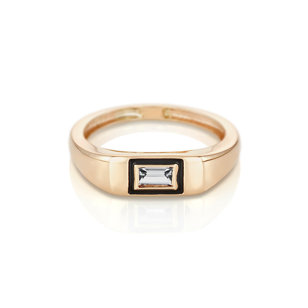 Modernist Birthstone Signet Ring - April | Diamond