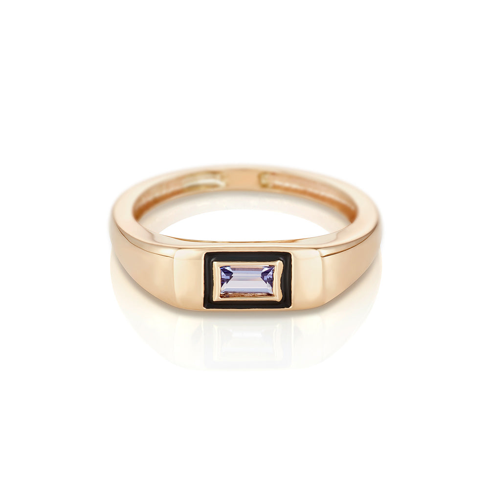 Modernist Birthstone Signet Ring - December | Tanzanite