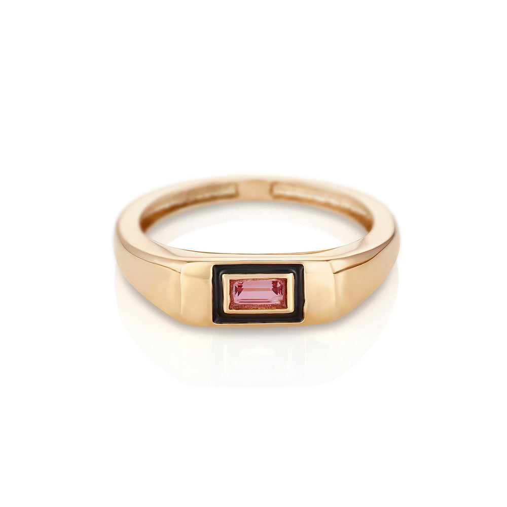 Modernist Birthstone Signet Ring - October | Pink Tourmaline