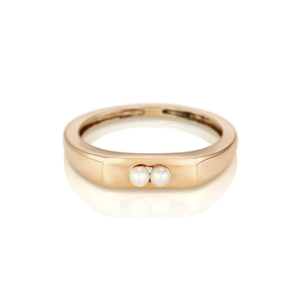 Modernist Birthstone Signet Ring - June | Pearl