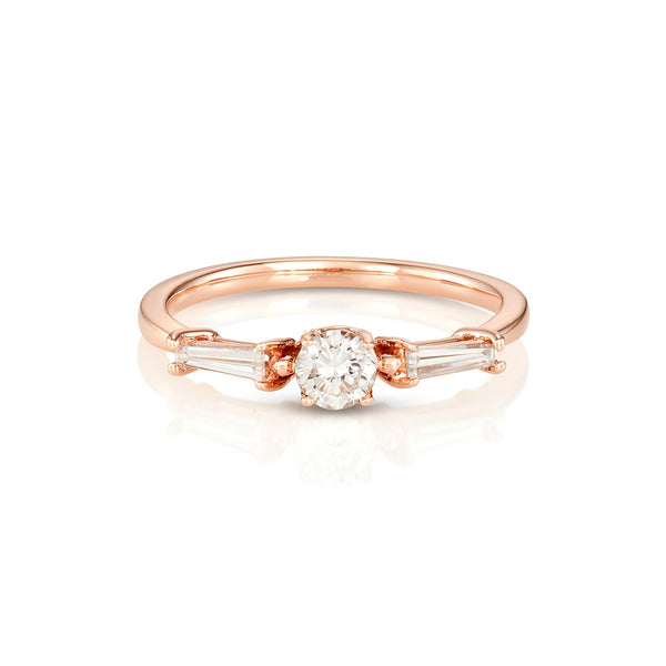 Yours only - Round Diamond and tapered Baguette Ring