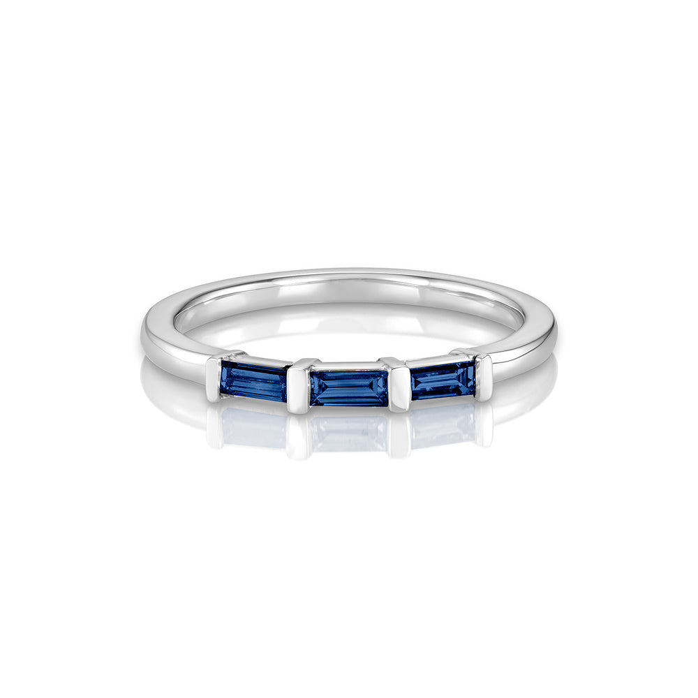 Yours only - Baguette Line Blue Sapphires Ring