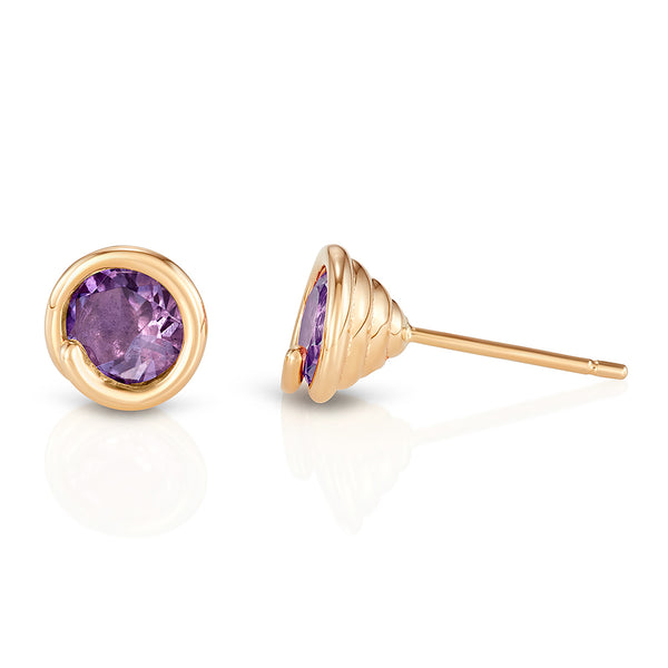 Amethyst Scroll Earring