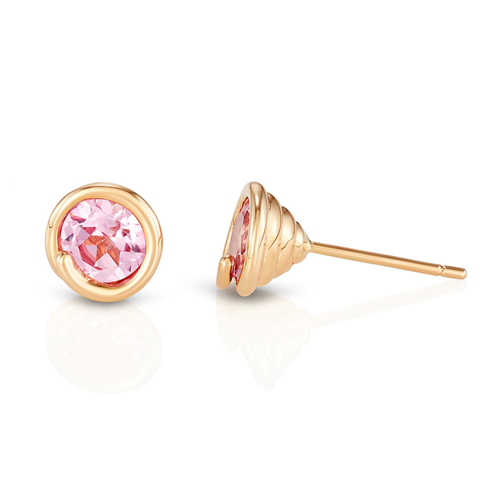 Pink Topaz Scroll Earring