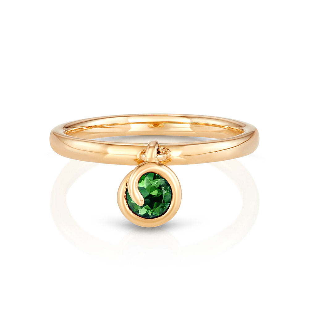 Scroll Charm Chrome Diopside Ring