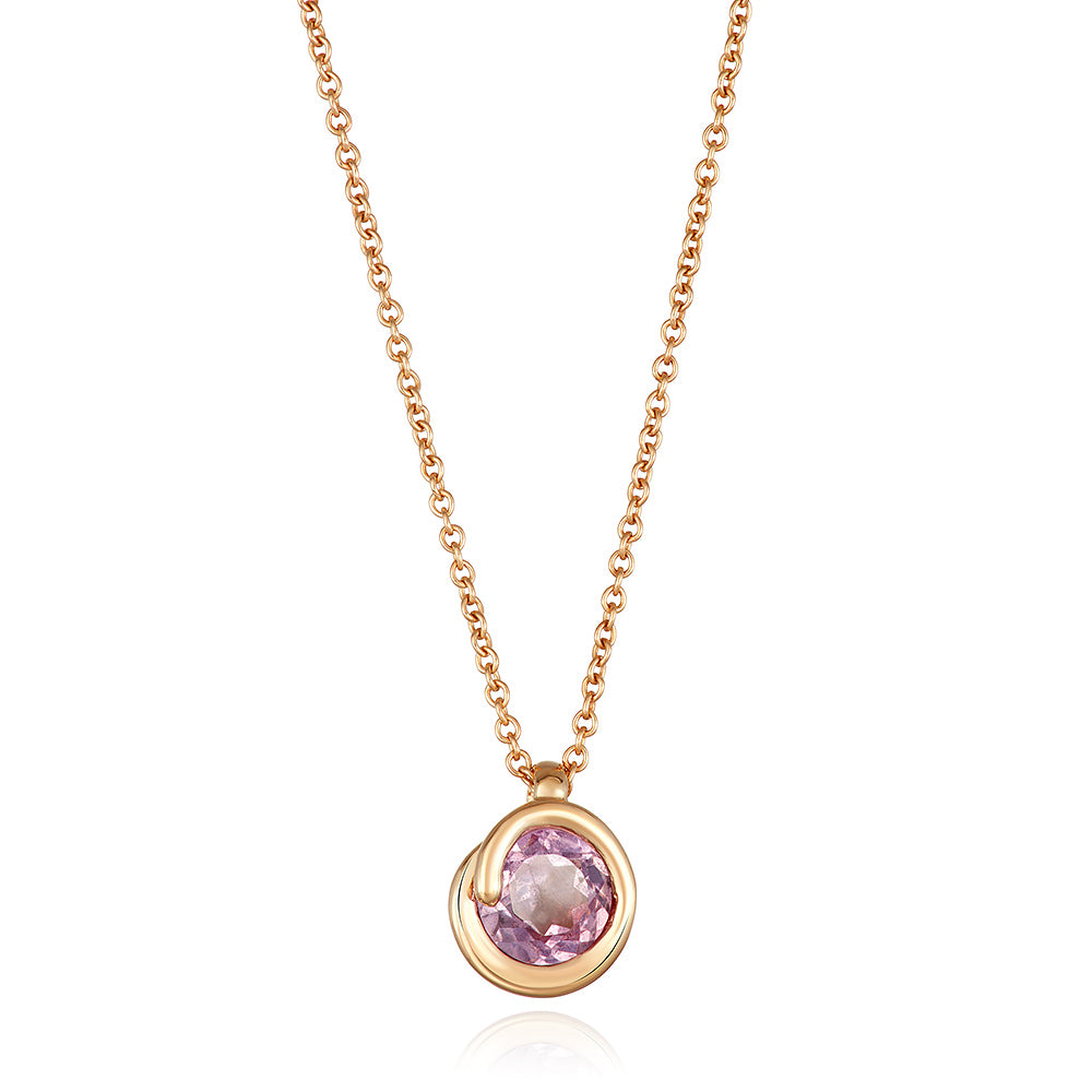 Pink Topaz Scroll Pendant