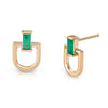 Modern Link emerald earrings
