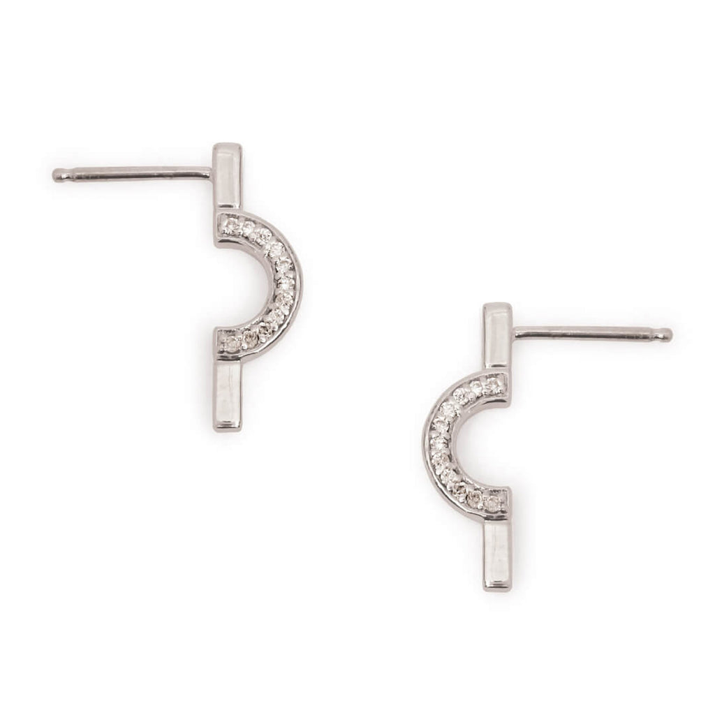 Discrete Diamond Round Earring