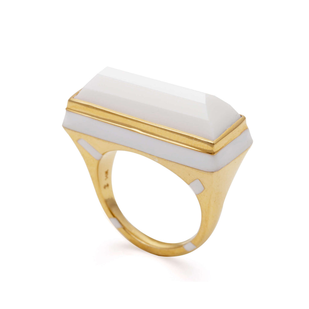 GEO WHITE FACETED RING