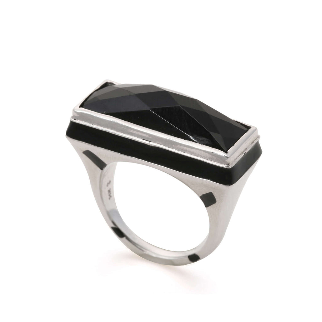 GEO BLACK FACETED RING