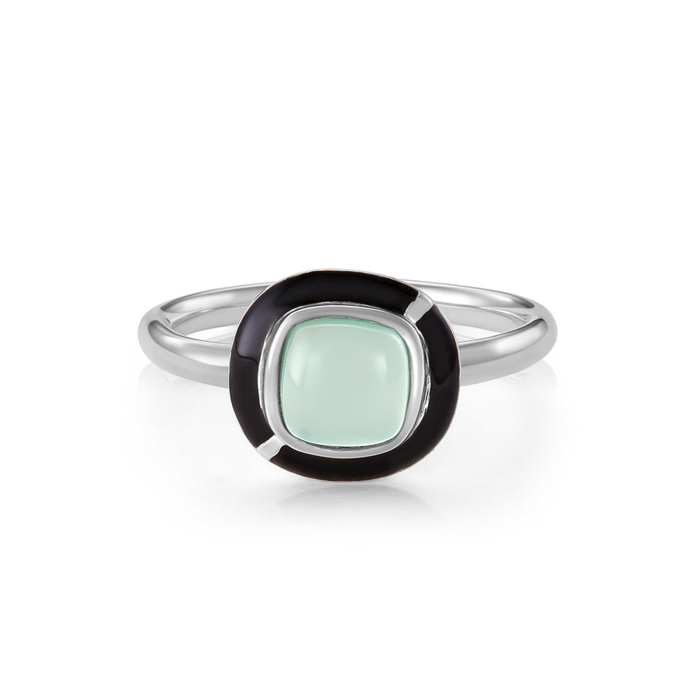 MINI GEO GREEN CHALCEDONY RING BLACK