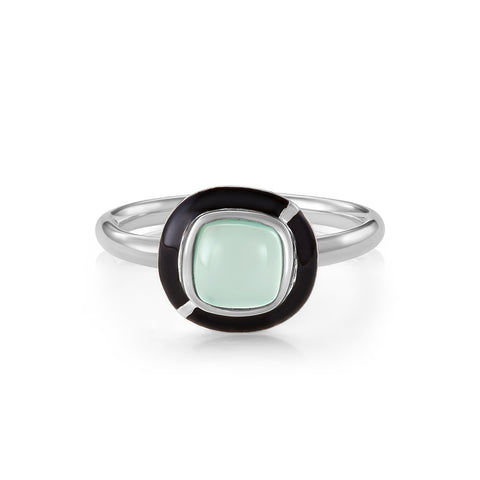 MINI GEO BLUE CHALCEDONY RING BLACK