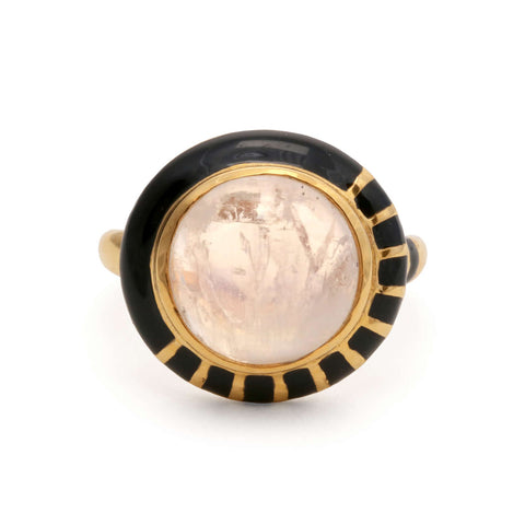 Modernist natural Signet Ring - Carnelian, Mother of Pearl, Agate