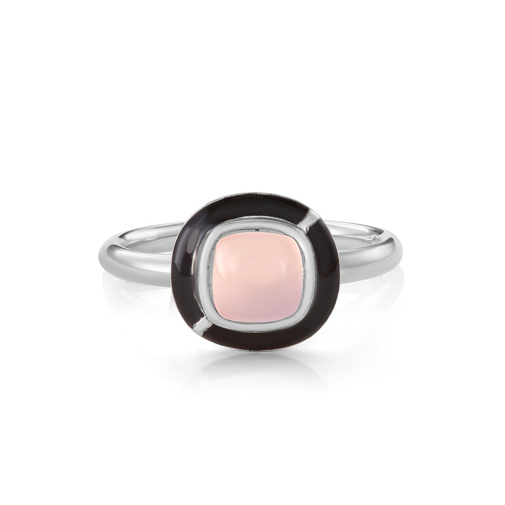 MINI GEO PINK CHALCEDONY RING BLACK