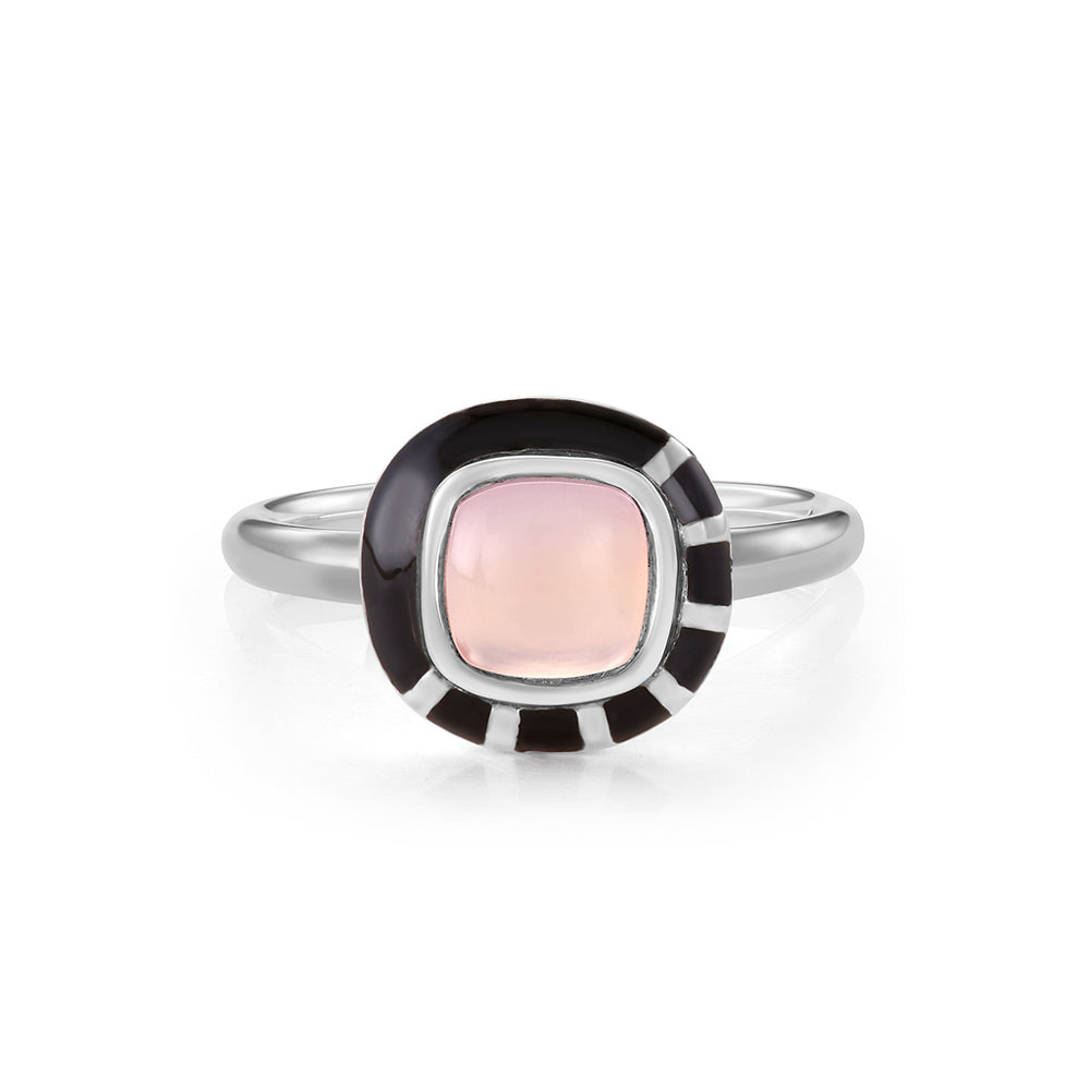 MINI GEO PINK CHALCEDONY BLACK LINE RING