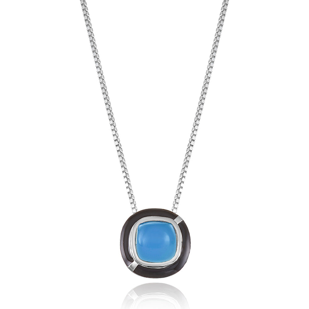 MINI GEO BLUE CHALCEDONY PENDANT BLACK