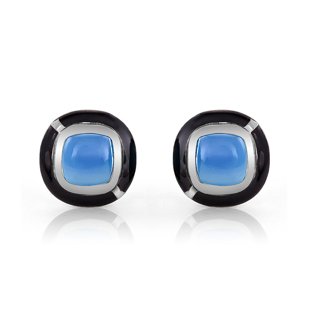 MINI GEO BLUE CHALCEDONY EARRING BLACK